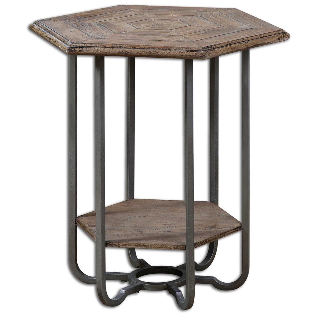 hexagonal weathered wood iron accent table metal toolbox chest cabinets pine desk jcpenney bedroom sets comfortable outdoor chairs target and lounge pier imports industrial