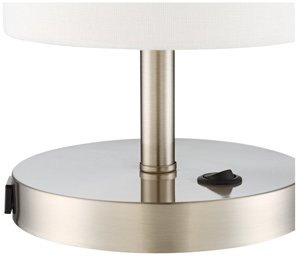 heyburn brushed steel accent table lamp with usb port electronics metal floor reducer numbers ikea garden shed storage pottery barn gold iron coffee mid century outdoor furniture