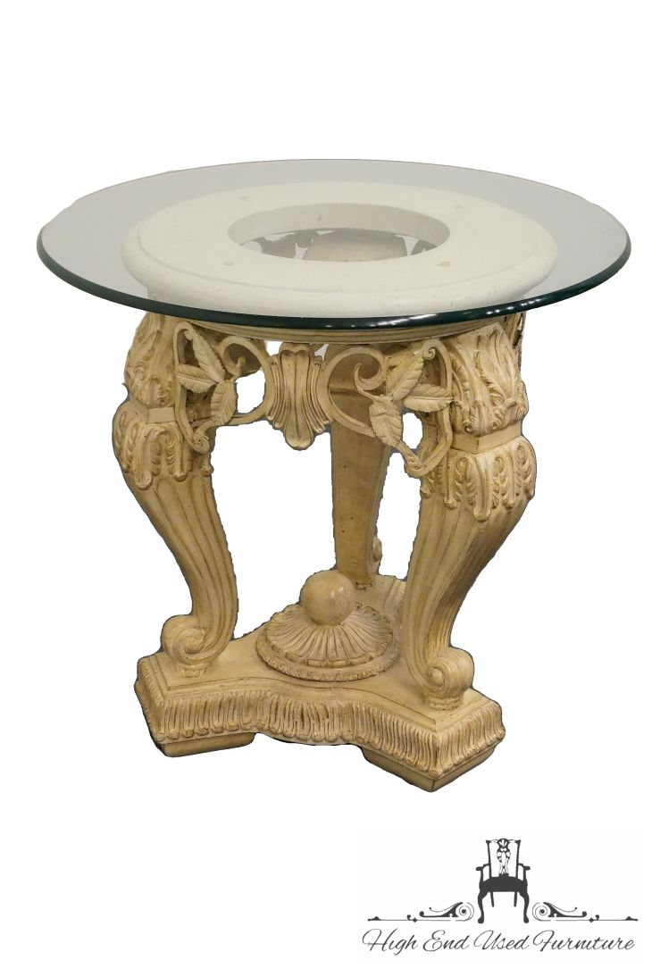 high end used furniture glass top ornate carved accent table foyer designer coffee tables sage green home decor shaker cherry battery powered indoor lights eames chair replica