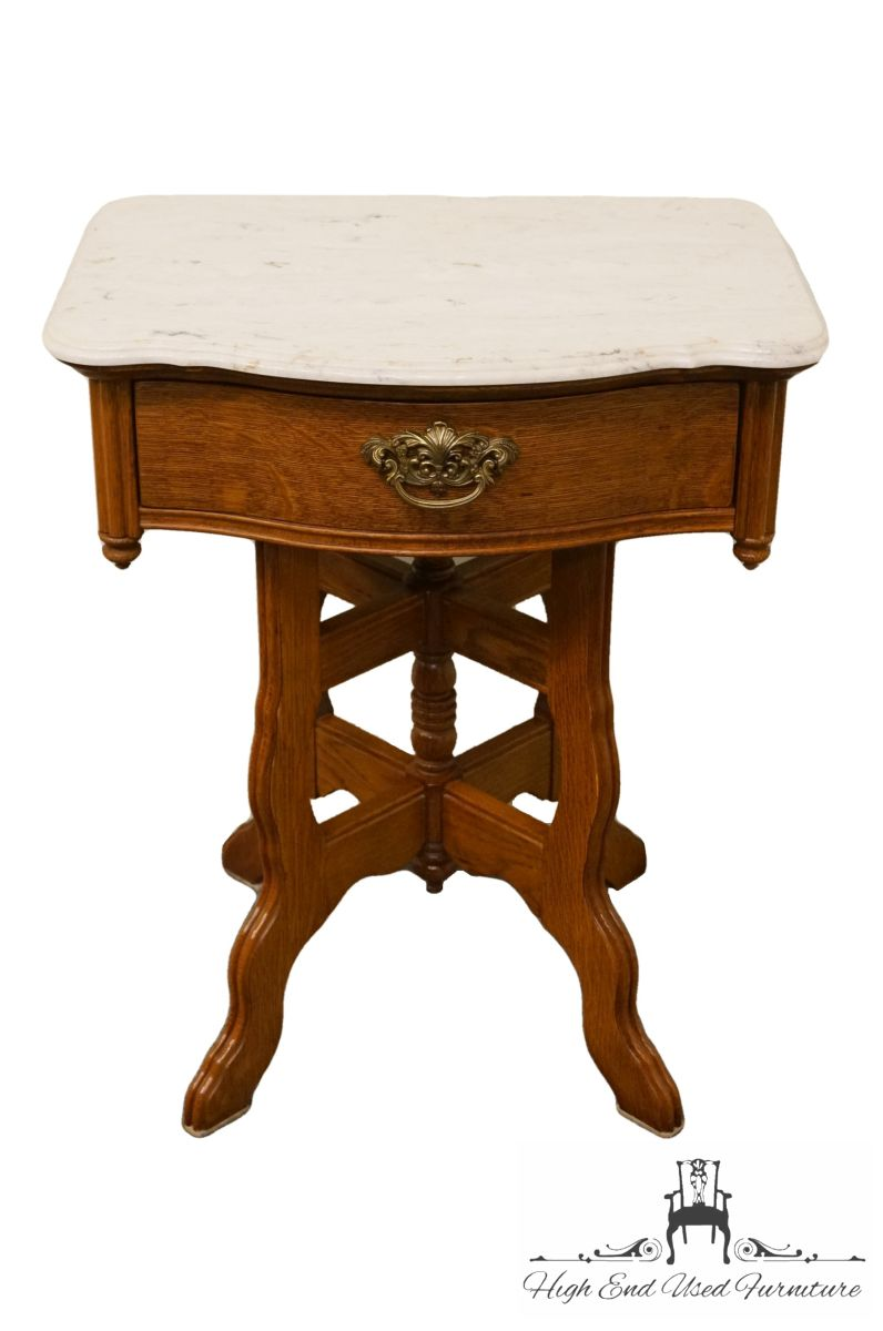 high end used furniture lexington victorian sampler accent table nightstand white marble top glass coffee and tables small bathroom height threshold mango wood living room sofa
