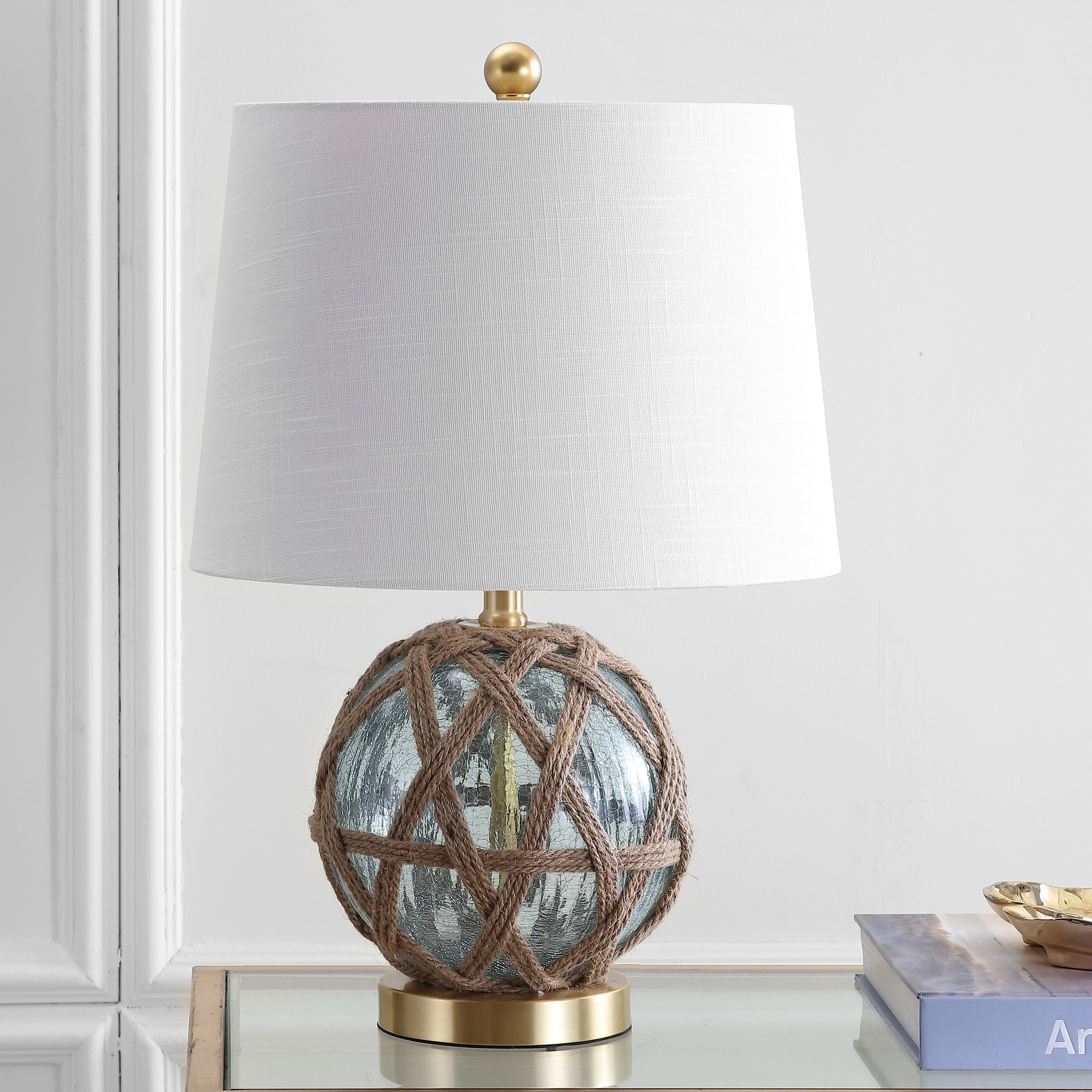 highland dunes ginevra led glass rope table lamp glassrope bedford jute accent beige tablecloth gray marble stained standing target cocktail diy end plans sliding door round side