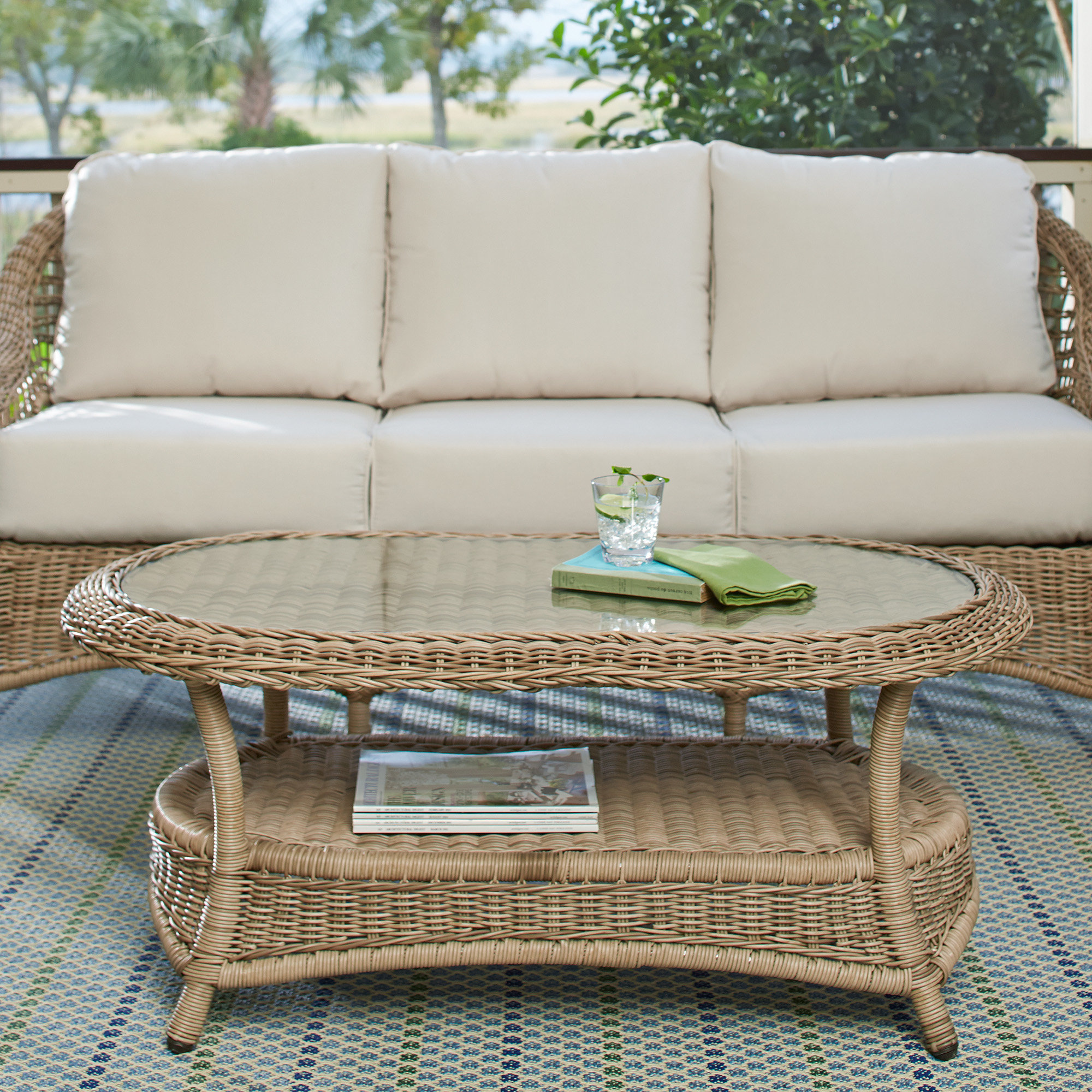 highland dunes riesel wicker coffee table reviews bombay outdoors pineapple umbrella accent patio corner display cabinet wood pedestal end ikea outdoor shelf chairs dining set