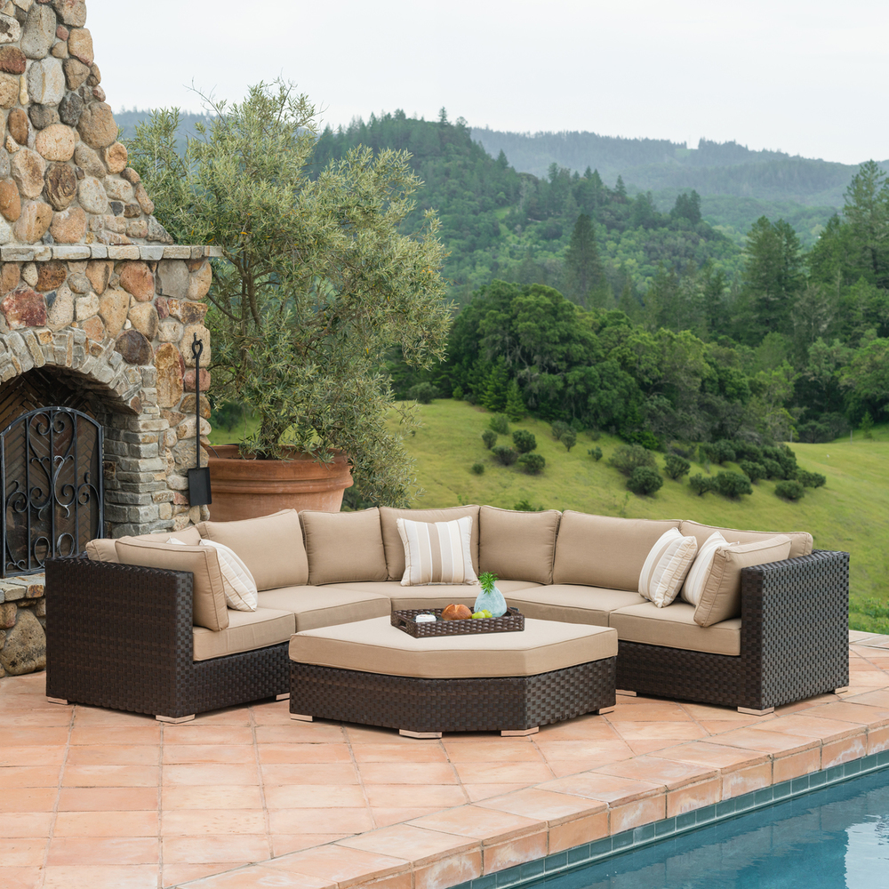 highland piece deep seating set woven accent table pillows are filled with eco friendly poly fiber and covered the latest sunbrella fabric for indoor design comfort outdoor