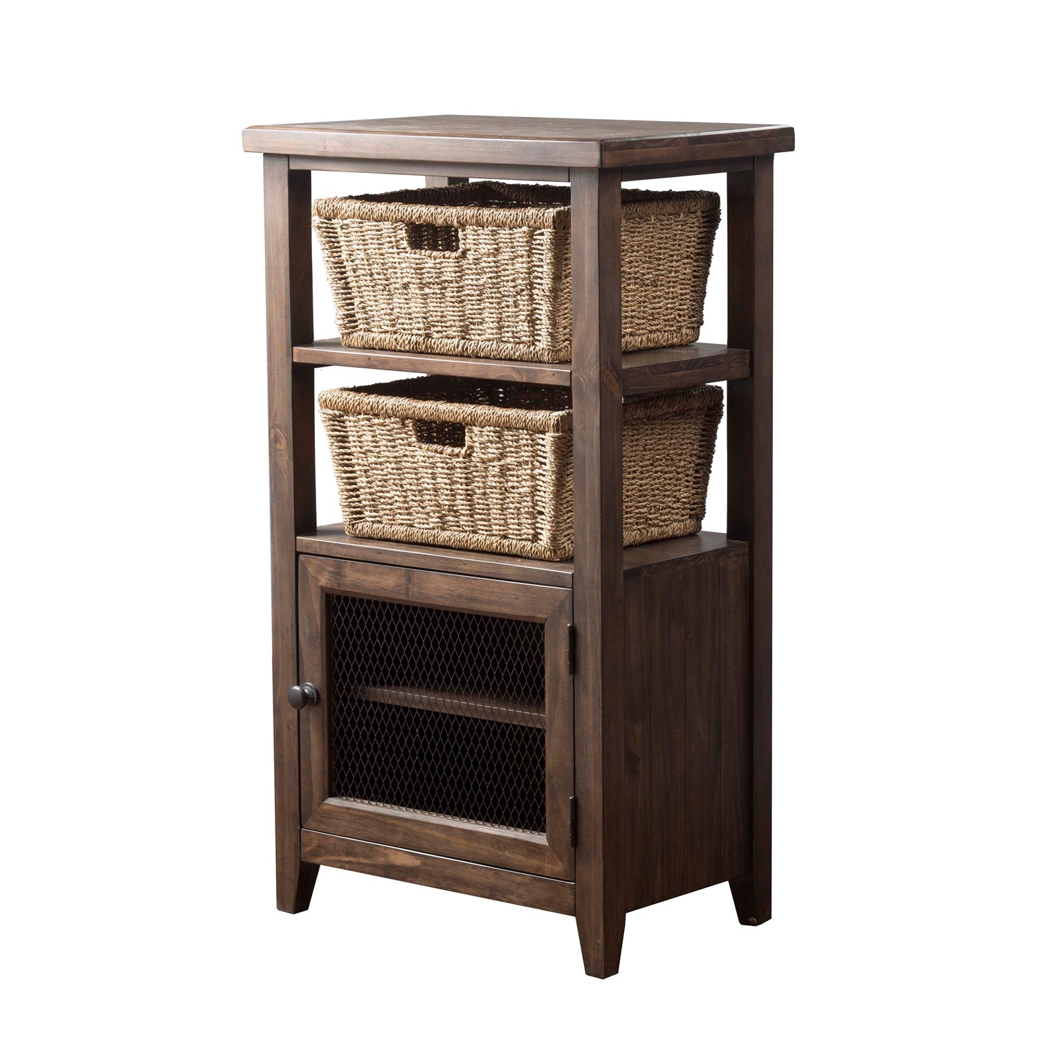 hillsdale furniture tuscan retreat accent table with wire door and white storage baskets tap expand brass ship lights wicker porch pottery barn dining runners placemats wooden