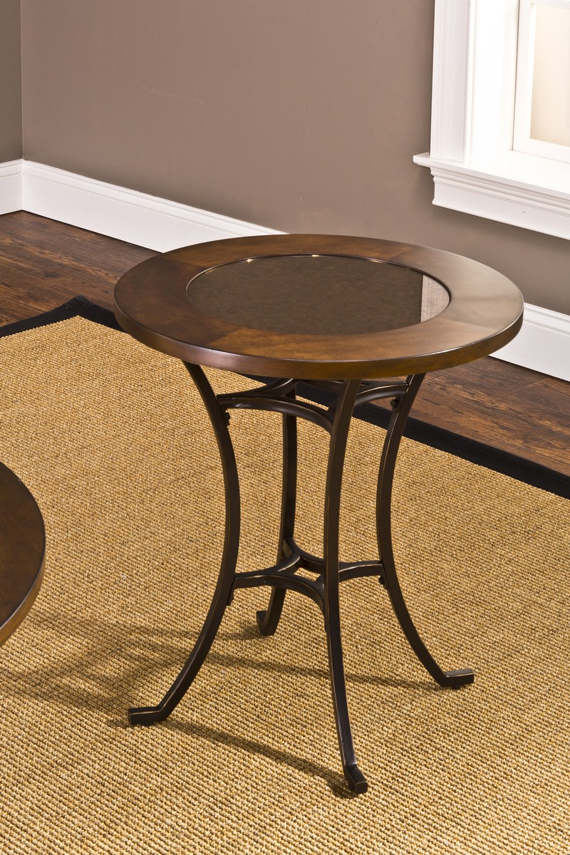 hillsdale montclair round end table wood border with mirrored glass accent drawer top metal copper american martinsville big lots outdoor badcock bedroom sets royal furniture sofa