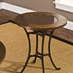 hillsdale montclair round end table wood border with mirrored ideas glass top metal copper ethan allen square coffee concrete legs faux dining room chairs set runner pineapple 150x150