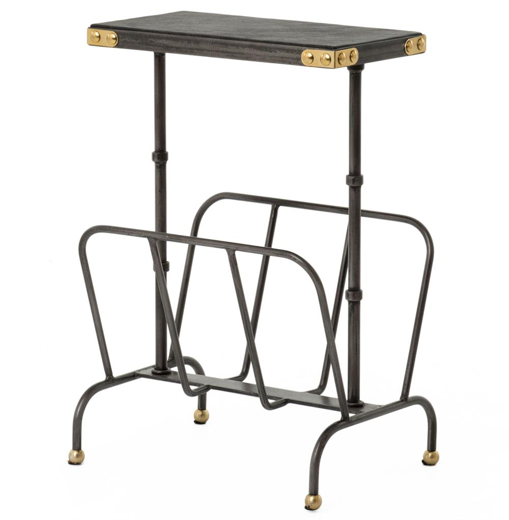 hobart iron waxed black industrial loft magazine rack side table product accent with kathy kuo home dark green coffee center decor bar furniture dining nic tablecloth oil rubbed