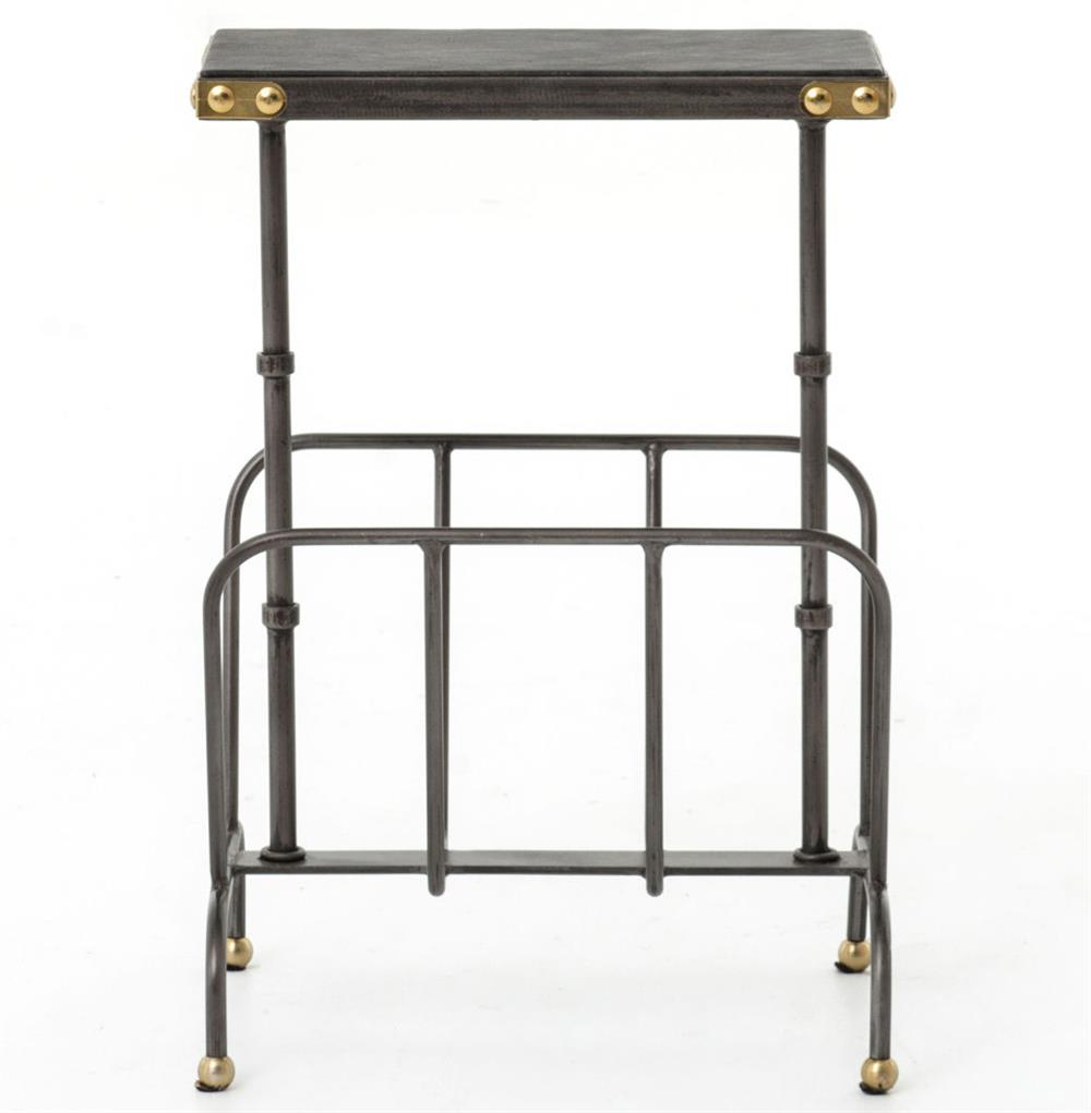 hobart iron waxed black industrial loft magazine rack side table product accent with kathy kuo home view full size shabby chic end tables barn door top tall drawers center decor