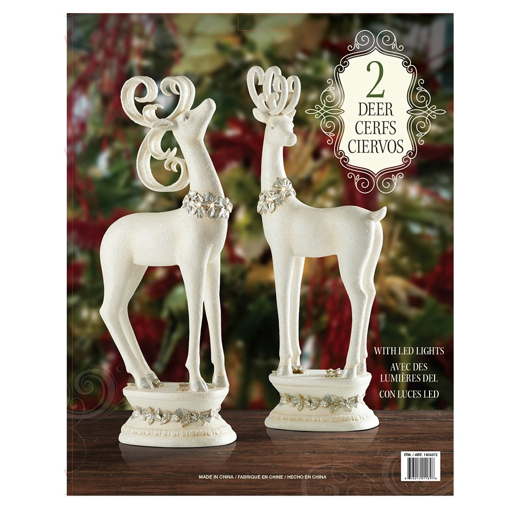 holiday christmas white deer with led lights ceramic accent table operated batteries home kitchen gold drum side room essentials cups occasional and chairs end metal console