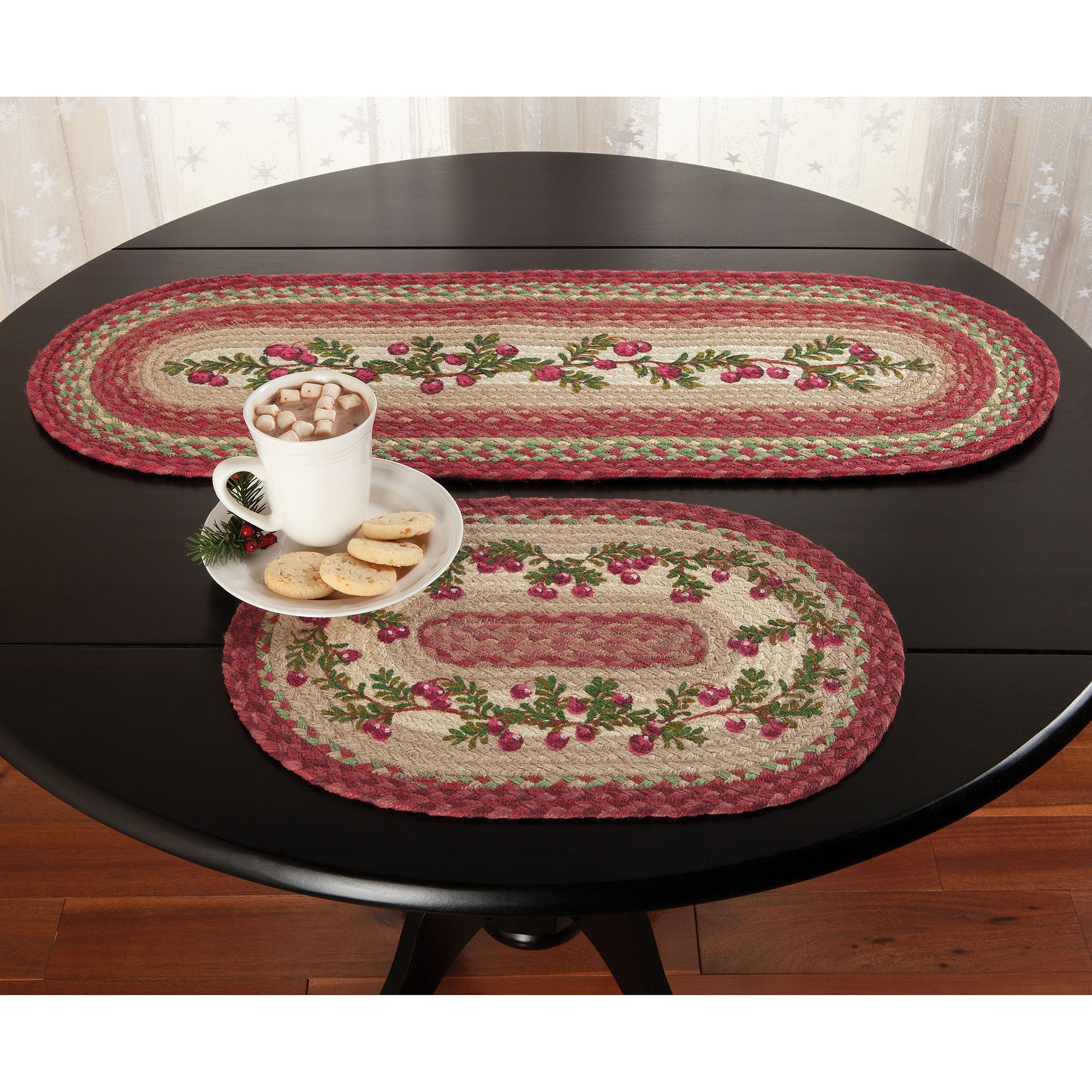 holiday cranberry braided jute tabletop country table decor runner and placemat accent accents patio chairs cloth placemats high end coffee giant umbrella wrought iron tables with