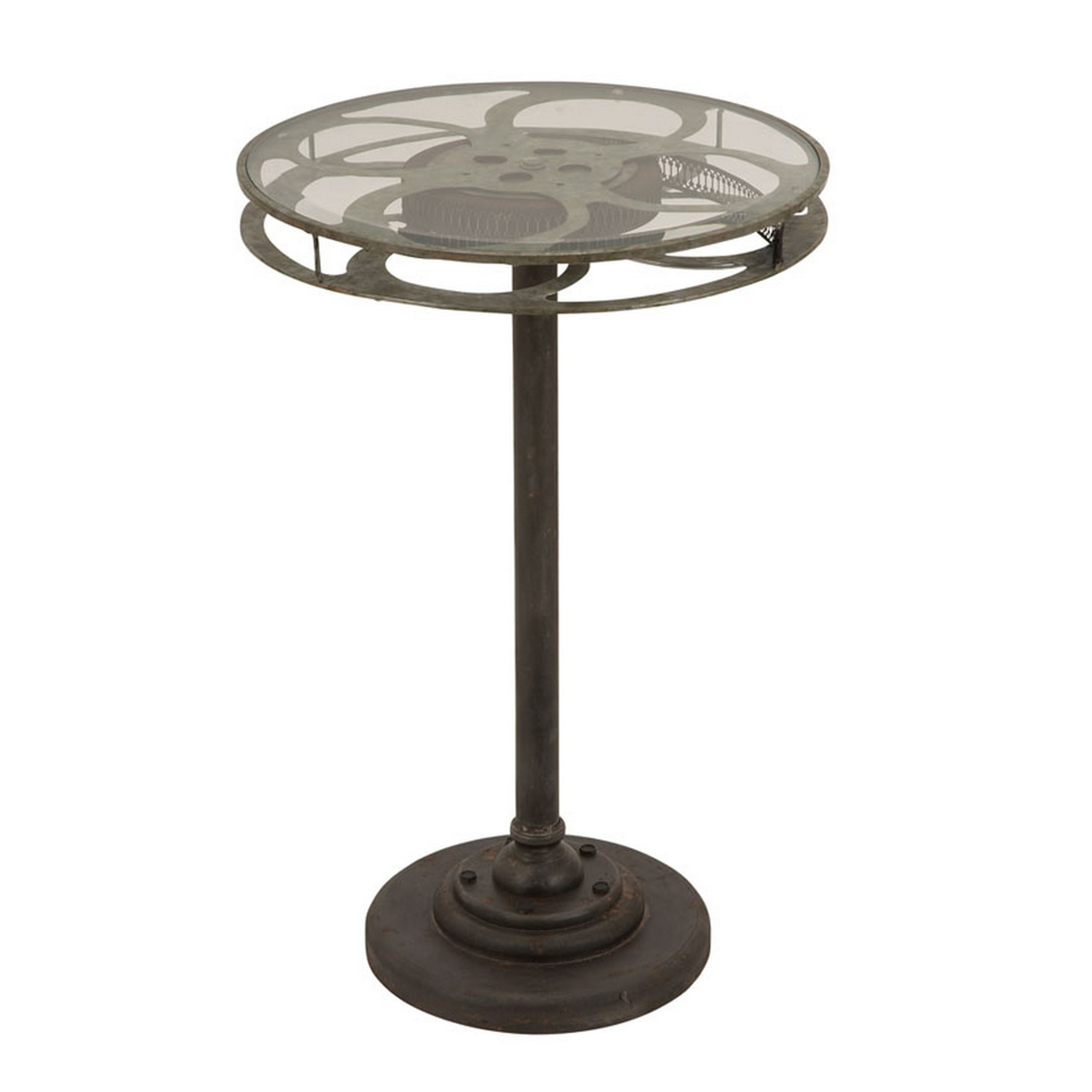 holllywood vintage film reel inch round top table free metal accent cardboard shipping today designer glass coffee tables concrete kitchen dining room furniture small modern end