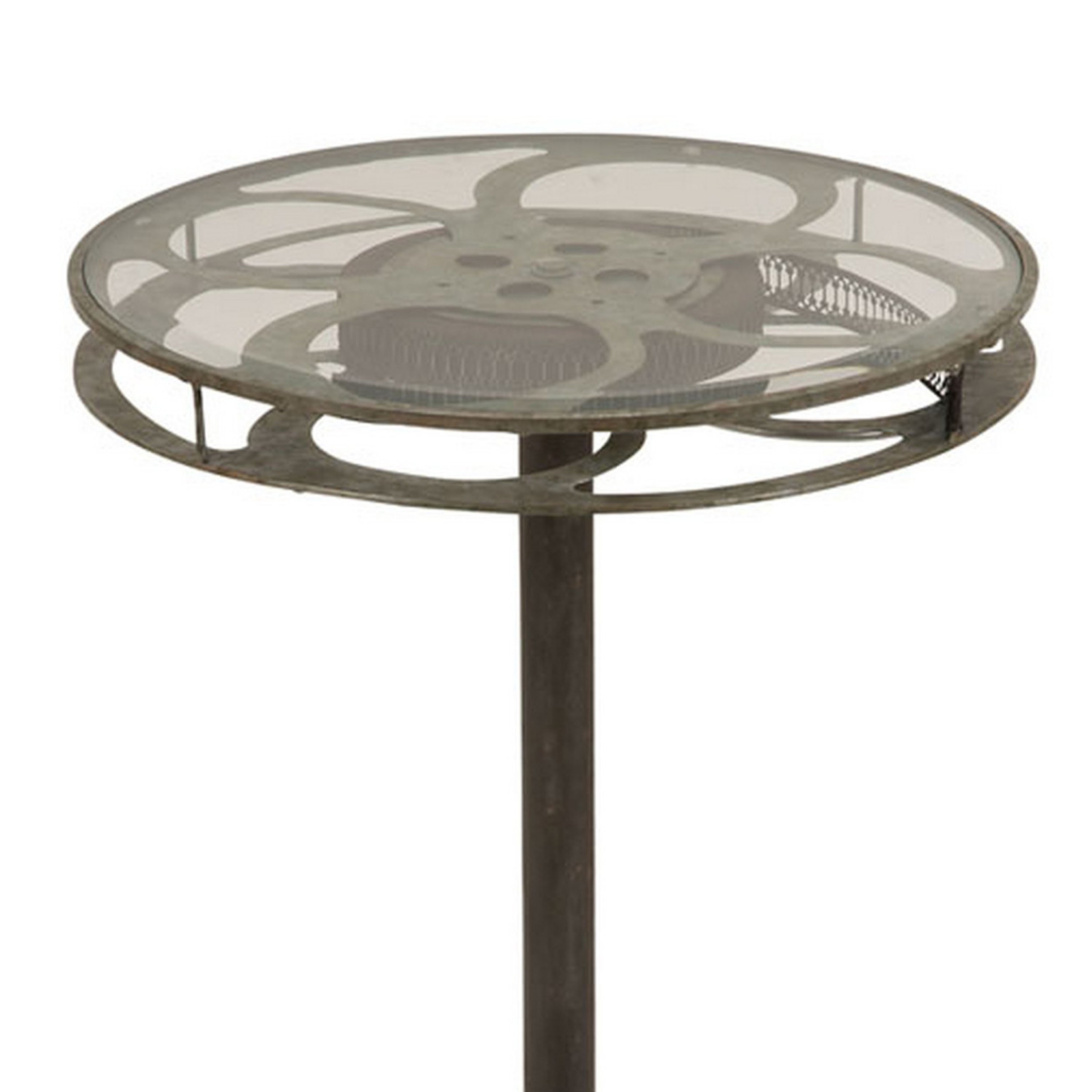 holllywood vintage film reel inch round top table free metal accent cardboard shipping today gold bedside retro console bedroom furniture packages drop leaf kitchen and chairs