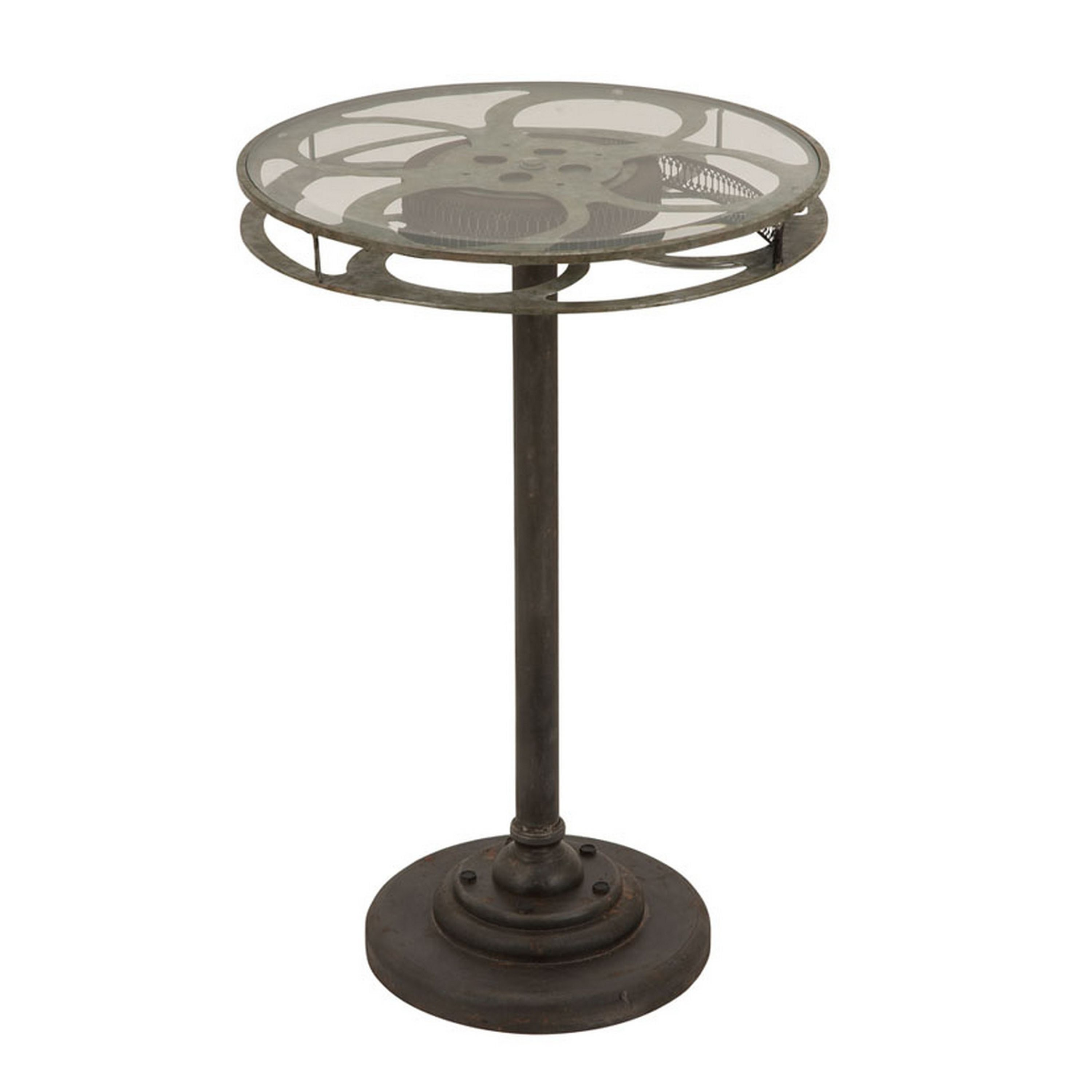 holllywood vintage film reel inch round top table free metal accent shipping today spencer furniture white wicker and chairs ashley desk drawer side navy jcpenney couches dark