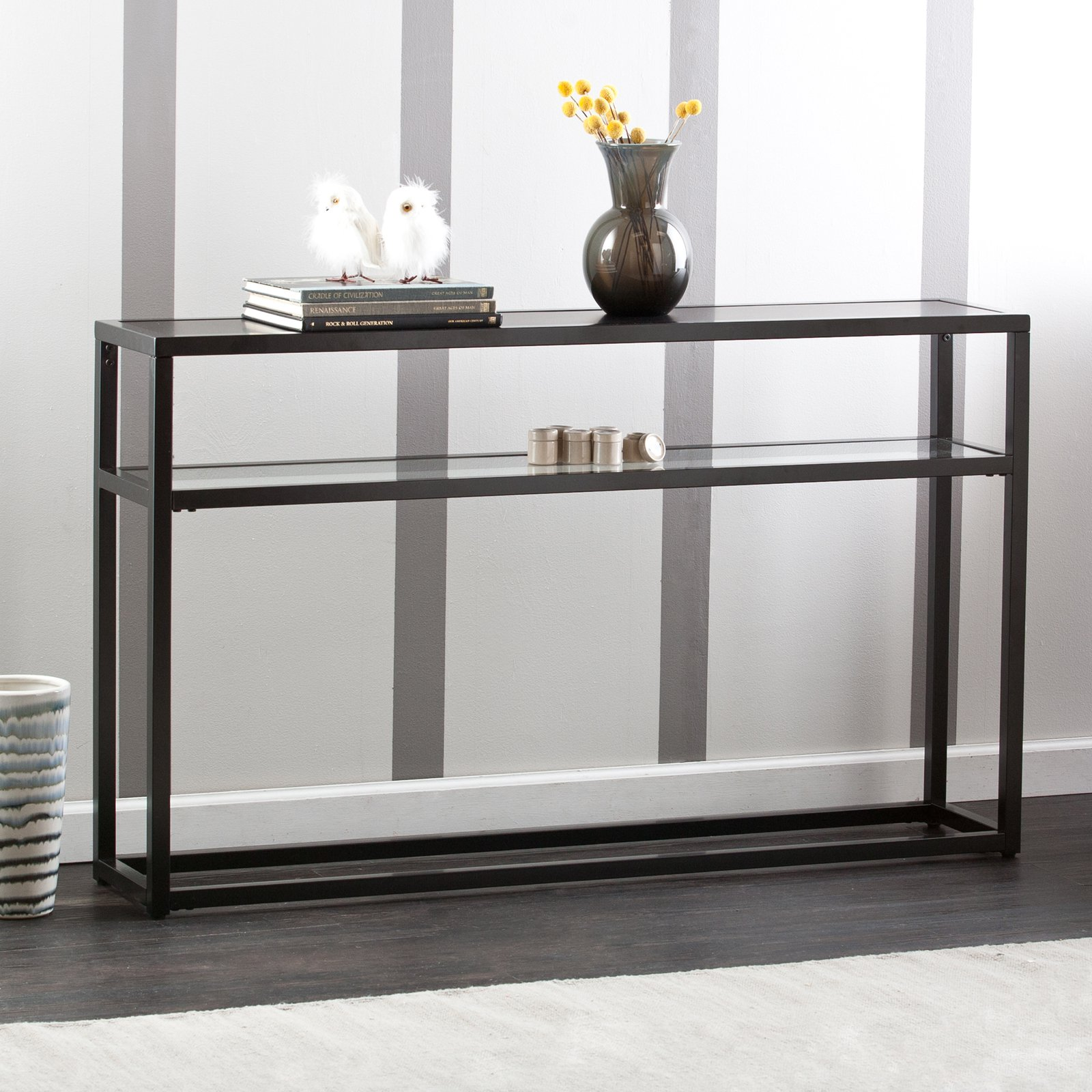 holly and martin baldrick console table glass black room essentials mixed material accent barnwood end tables coffee tray ideas foot long victorian living furniture contemporary