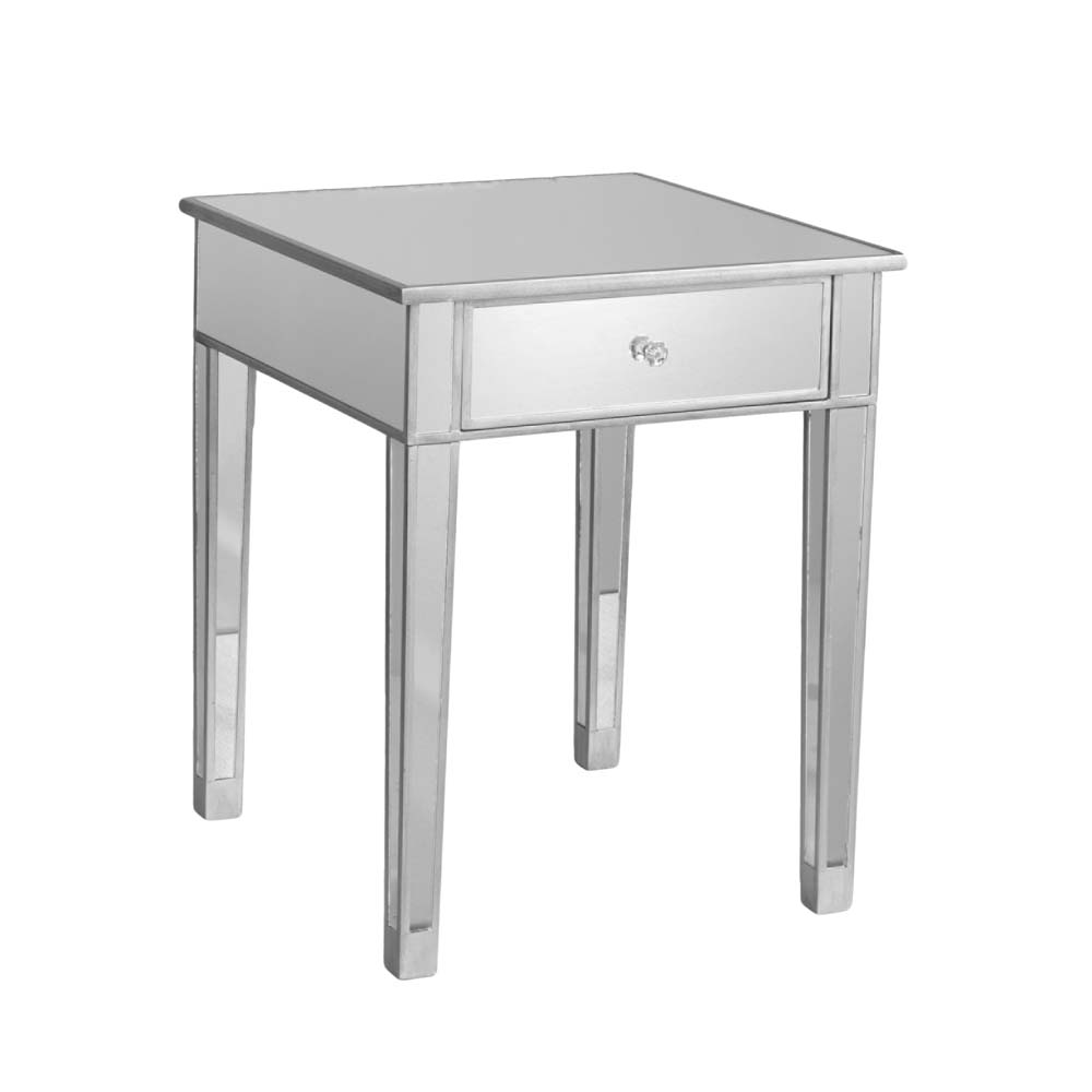 holly and martin montrose painted silver wood trim mirrored accent table metal astoria patio coffee with storage white drum pottery barn childrens small for nate berkus battery