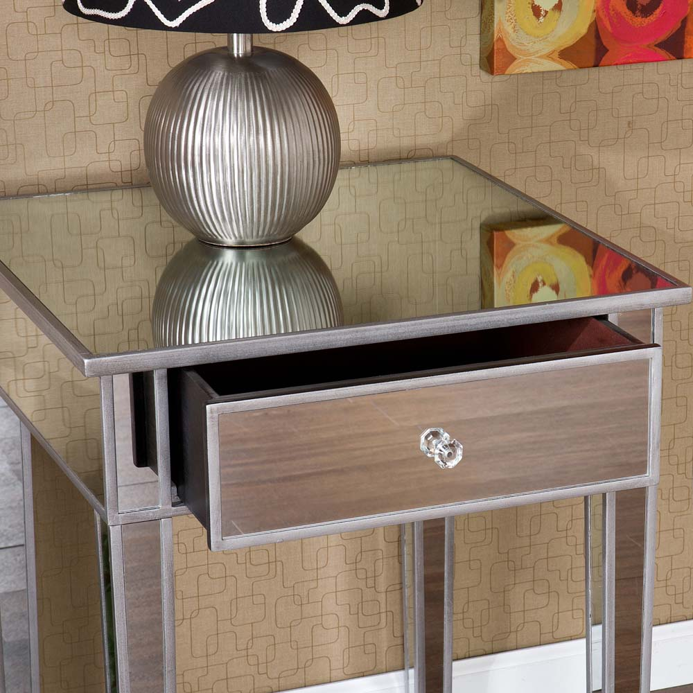 holly and martin montrose painted silver wood trim mirrored accent table with drawer christmas covers runners coasters king size mattress pine chest drawers chair side target