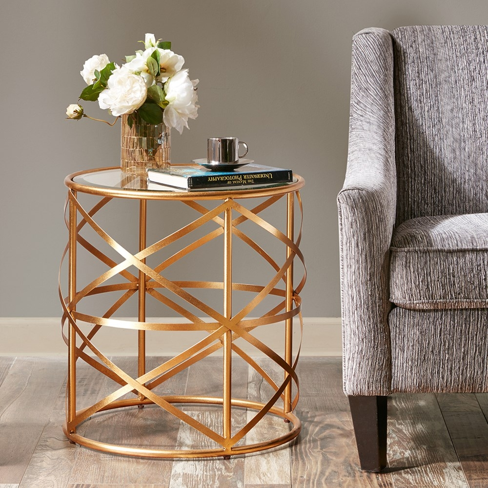 hollywood metallic gold accent end table vintage glamour tempered nora madison park res with glass top details about new small sofa lamps mid century chair green lamp round