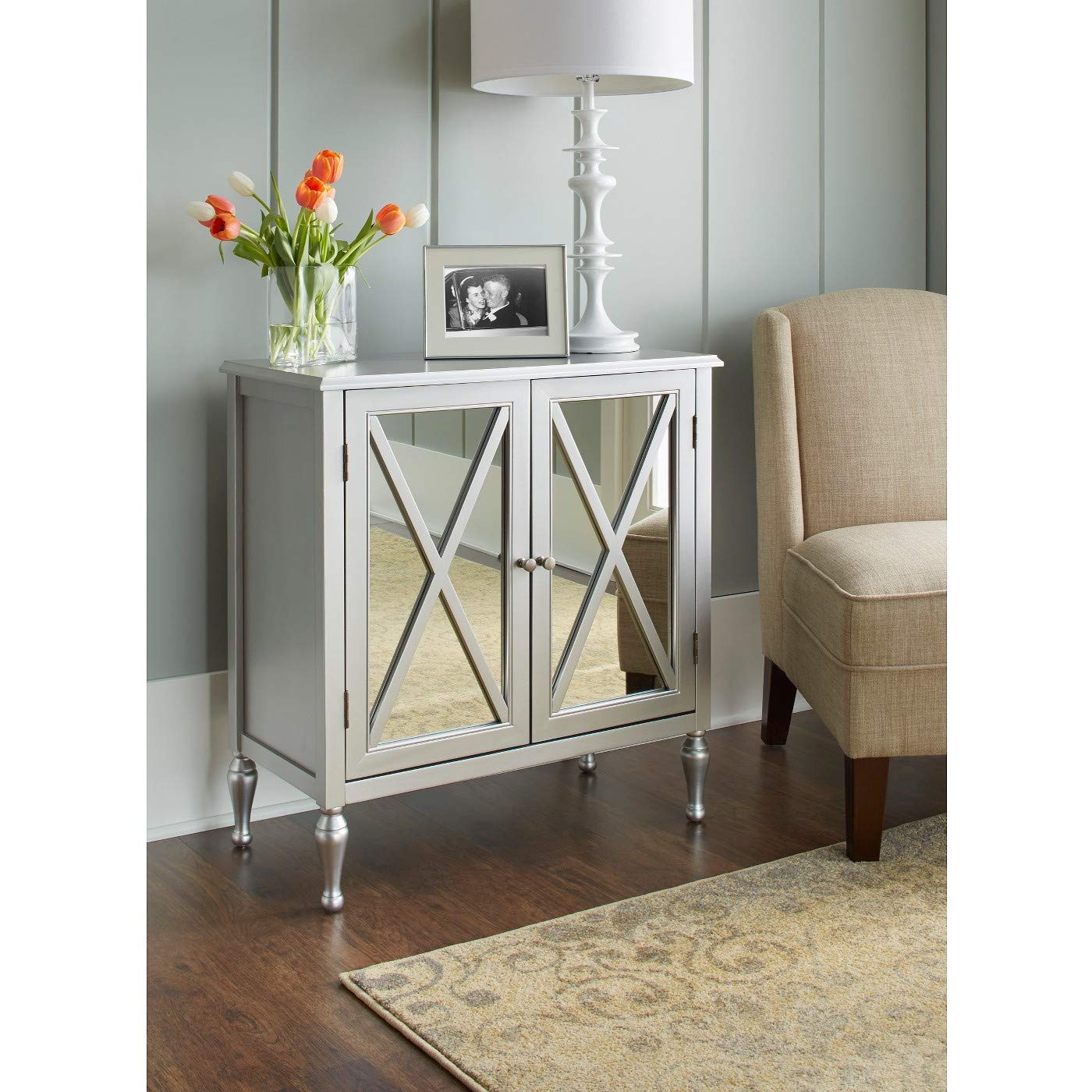 hollywood mirrored accent cabinet champagne kitchen table dining with drink cooler nate berkus high and chairs solid oak door thresholds country decorating ideas bar height