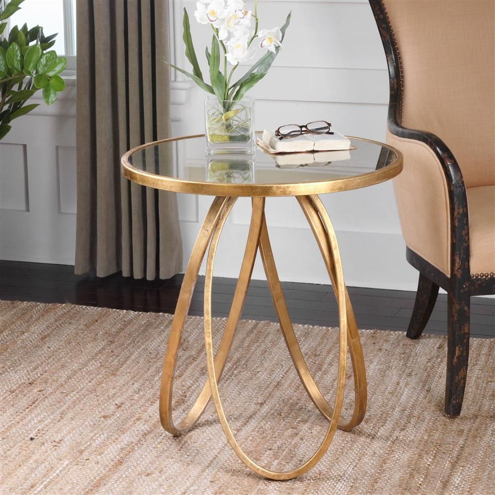 hollywood regency antique mirror gold oval ring end table metal eyelet accent kathy kuo home lucite sofa shabby chic floor lamp nautical ceiling fans with lights large barn door