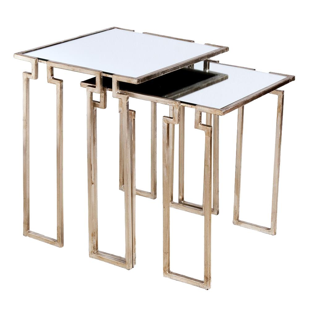 hollywood regency antique silver leaf mirror nesting side inch knurl accent tables industrial chic table ikea plastic storage boxes tall with stools sofa occasional and chairs