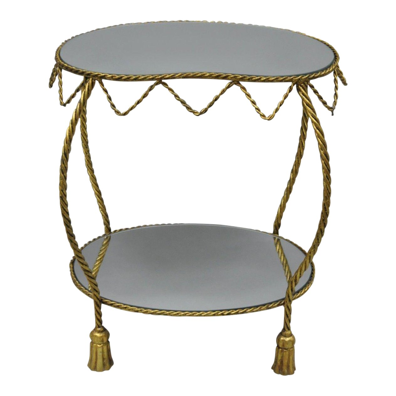 hollywood regency italian gold tassel rope kidney shape mirror top and side table shaped accent chairish tall end tables target outside lawn chairs ikea high west elm floor white