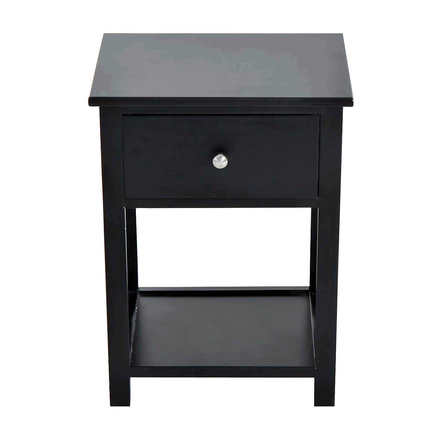 homcom black side wood end table nightstand drawer thin accent home goods tables large wall clocks small white for nursery inch console grey clock big lots daybed ikea coffee and
