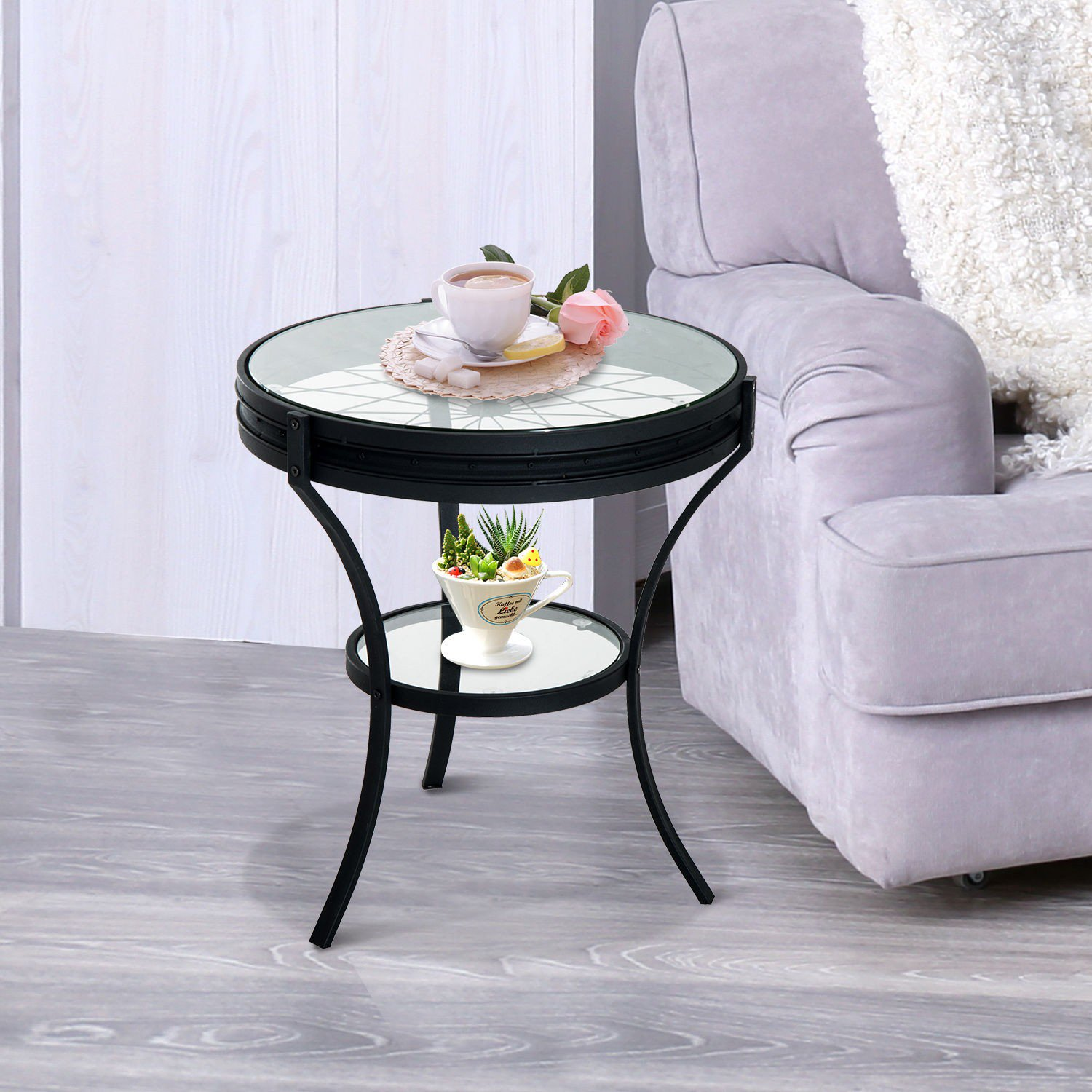 homcom round metal glass top bicycle wheel accent end table home goods tables bedroom furniture packages gray coffee sofa behind mirrored with drawer curtain rods tall marble side