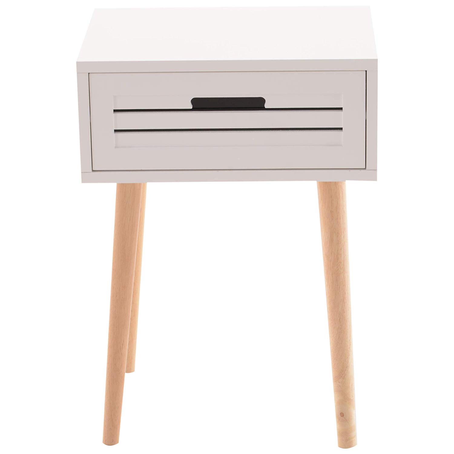 homcom wood mid century modern end table night stand accent with storage drawer white kitchen dining patio coffee ideas round screw legs side console shoe battery bedside lamp