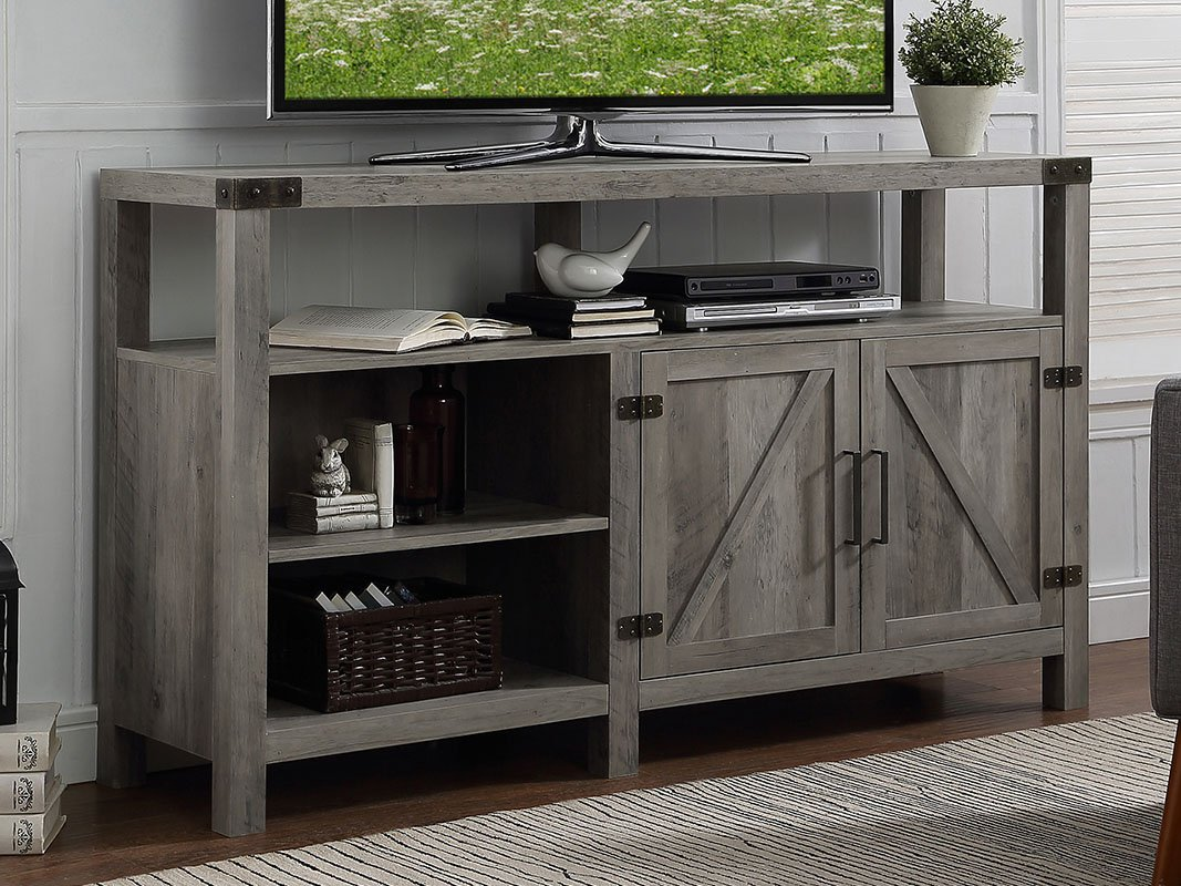 home accent furnishings new inch wide barndoor table with barn door highboy television stand grey wash finish kitchen dining west elm side chair white designer chairs allen best