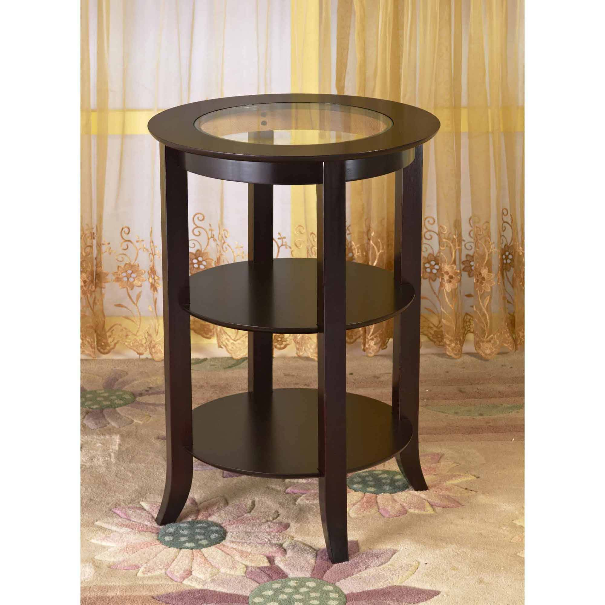 home craft wood round side accent table with shelves espresso sideaccent white console drawers farm leaf black leather chair wedding list ideas cube tables ikea half moon antique
