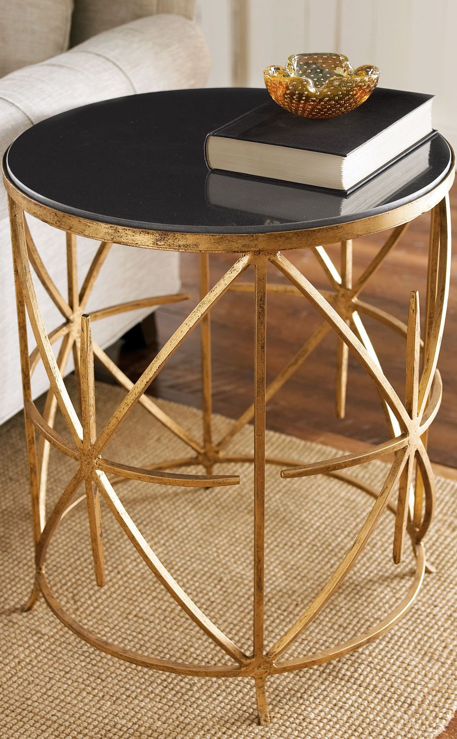 home decor living room table and furniture montrez gold accent granite top side sofa with drawer west elm stools brass coffee glass making size childrens chairs target willow