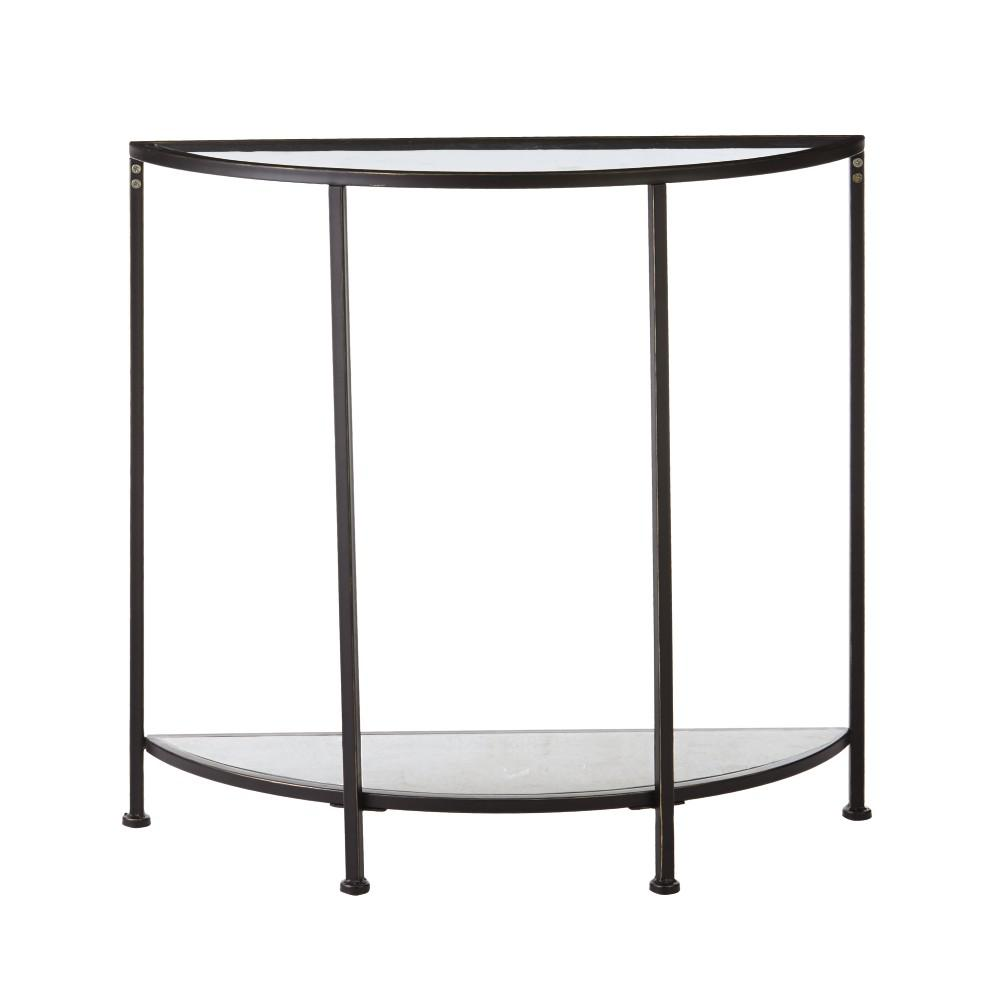 home decorators collection bella aged bronze demilune glass console tables black half moon accent table the small side for living room gold and nate berkus round with marble top