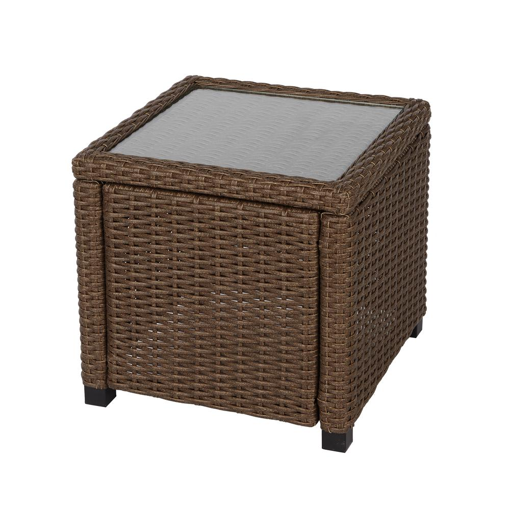home decorators collection brown wicker outdoor accent side tables table with storage inch round tablecloth deep console sheesham wood nest nautical style chandeliers glass lamp