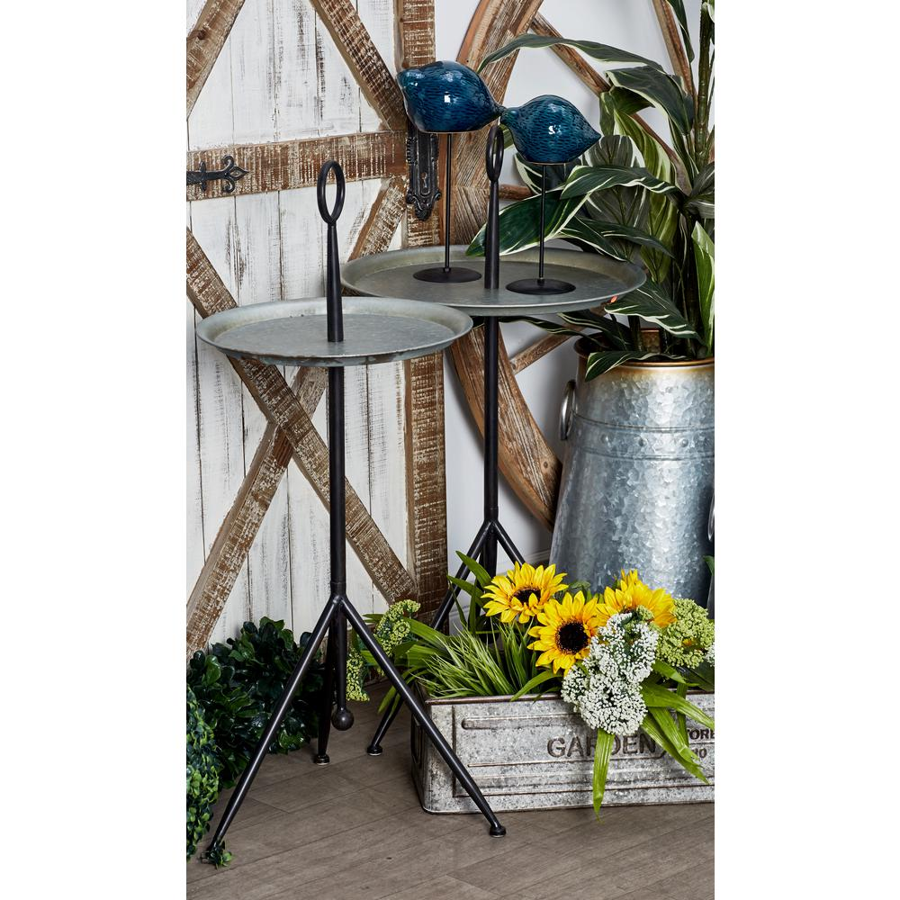 home decorators collection end tables accent the multi colored litton lane tall round pedestal table gray with tray stand design console stools grey wood nest very narrow coffee