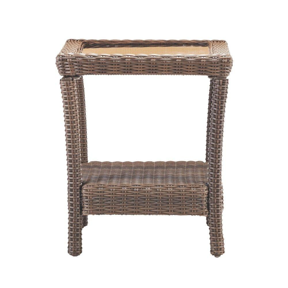 home decorators collection naples brown square all weather wicker outdoor side tables table with glass top modern accent drawer black and white decorations slim console drawers