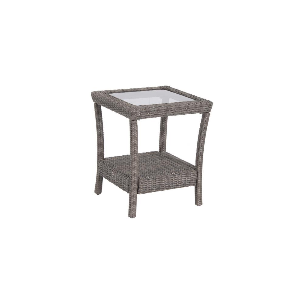 home decorators collection naples grey square all weather wicker outdoor side tables table with glass top living room bar cart wine rack small white stoppers target entrance