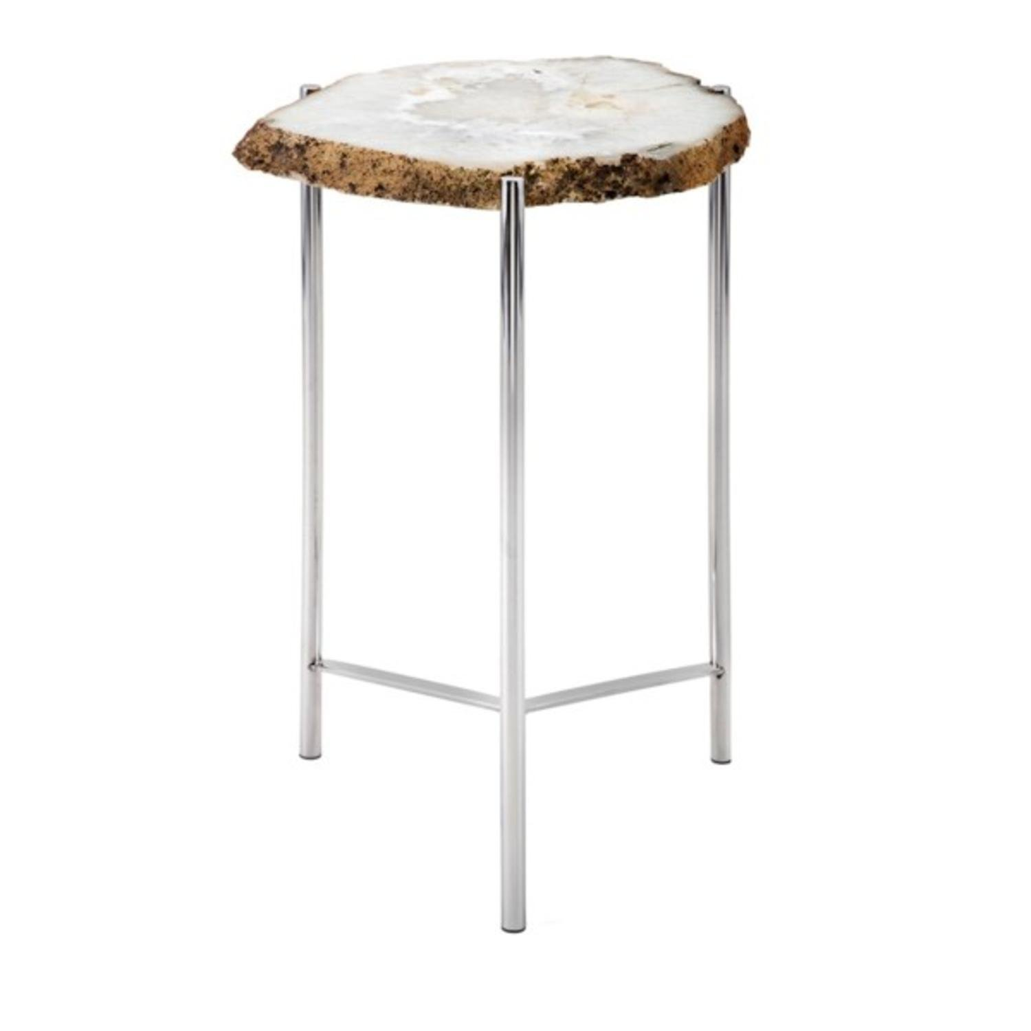 home furnishings white and brown log patterned agate accent table giselle trivet stand kitchen dining with built side tables tiffany pond lily lamp magnussen allure end wooden