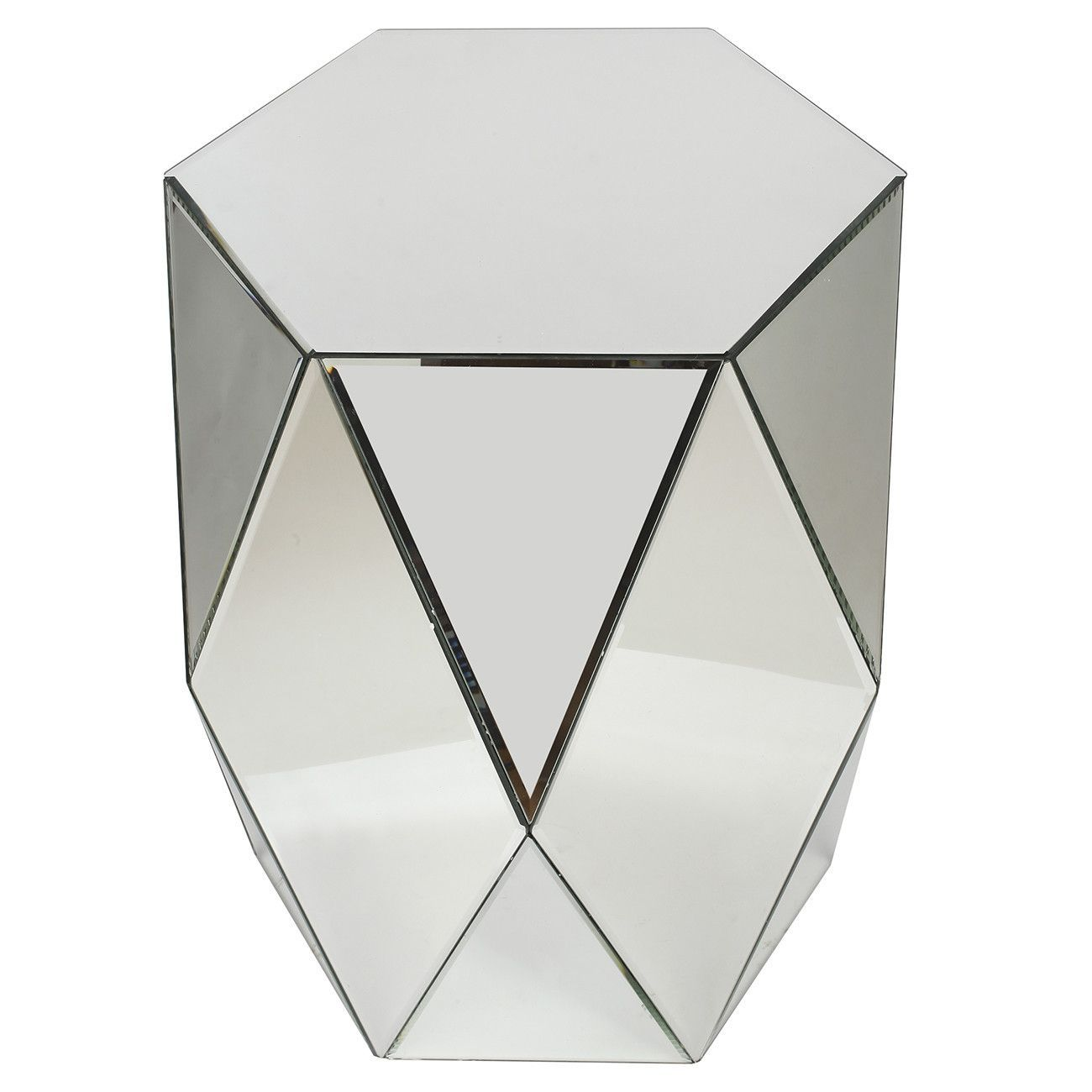 home geometric mirrored accent table products mirage christmas tablecloth inch round white console lamps bunnings garden furniture living room centerpiece ideas door cabinet