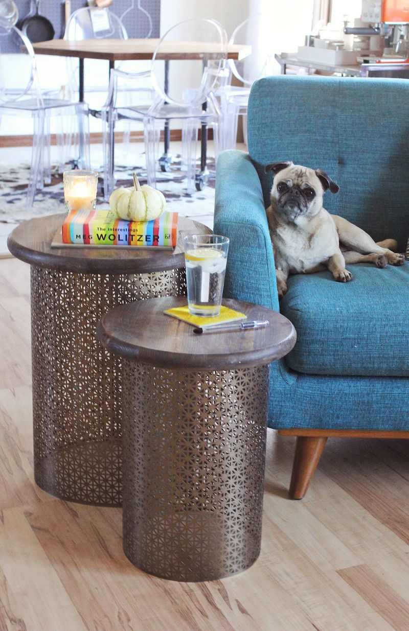 home goods end tables the terrific drum style diy brass side beautiful mess how make retro master built smoker phone charging furniture elegant tablecloths outdoor patio couch