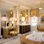 home interior purple gold color accent dining room ideas with golden bathroom decorating luxury classic design marble bathtub table lamp chair and cadle holder hanging lighting 150x150