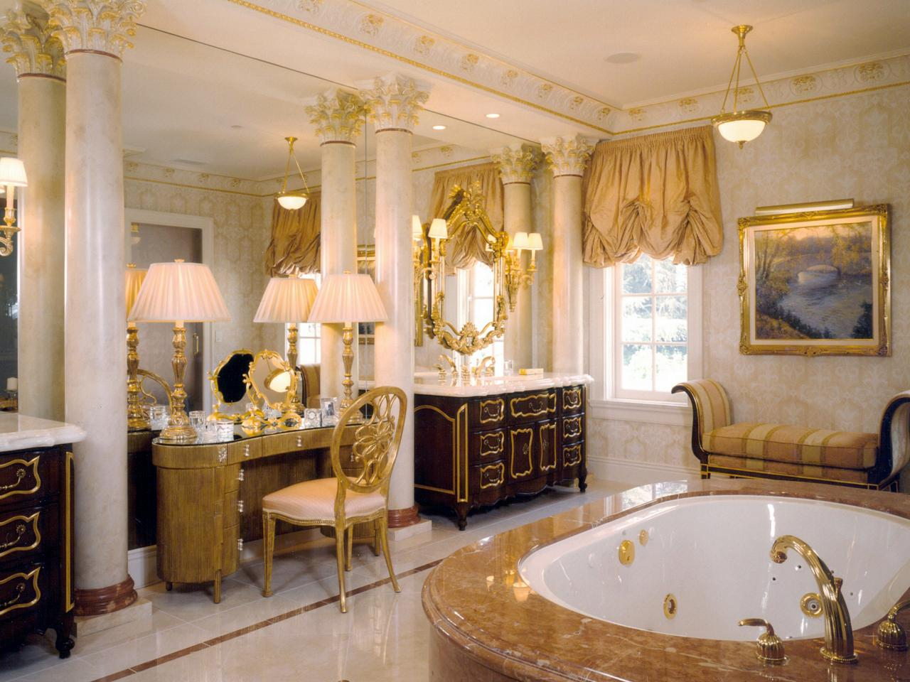 home interior purple gold color accent dining room ideas with golden bathroom decorating luxury classic design marble bathtub table lamp chair and cadle holder hanging lighting