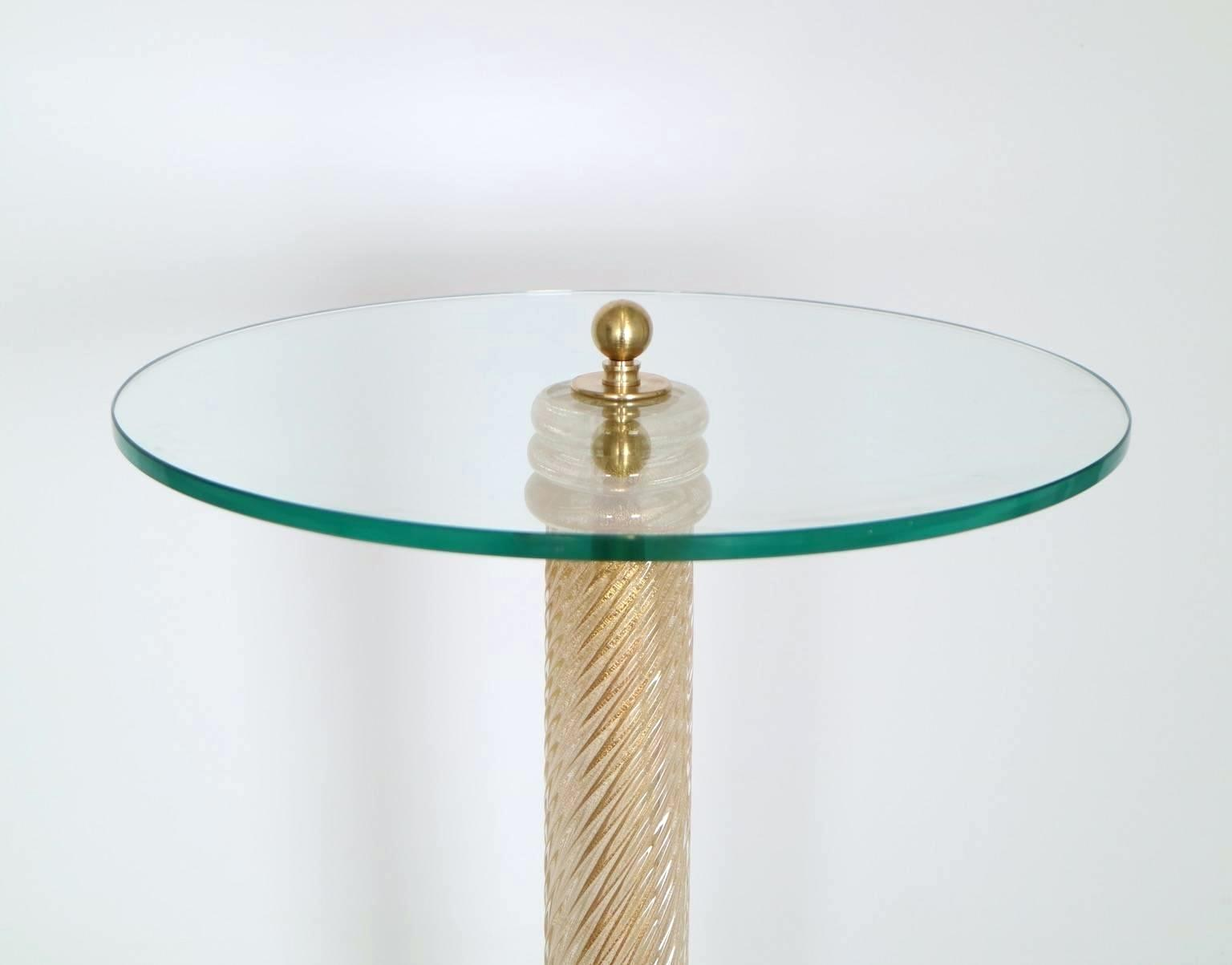 home matte gold metal glass side end table and coffee regency with circular top pedestal swirled quatrefoil accent leaf accented frame small dark wood console cabinet door pulls