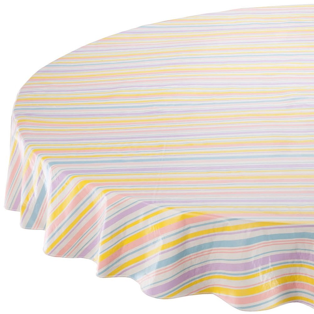 home pastel stripe accent elasticized vinyl table round tablecloth cover soft flannel backing for indoor and outdoor use anti stain white patio ikea living room furniture