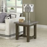 home styles concrete chic weathered brown top end table lightly finished aged metal look and the base has finish tables accent black dining room small light oval glass coffee 150x150