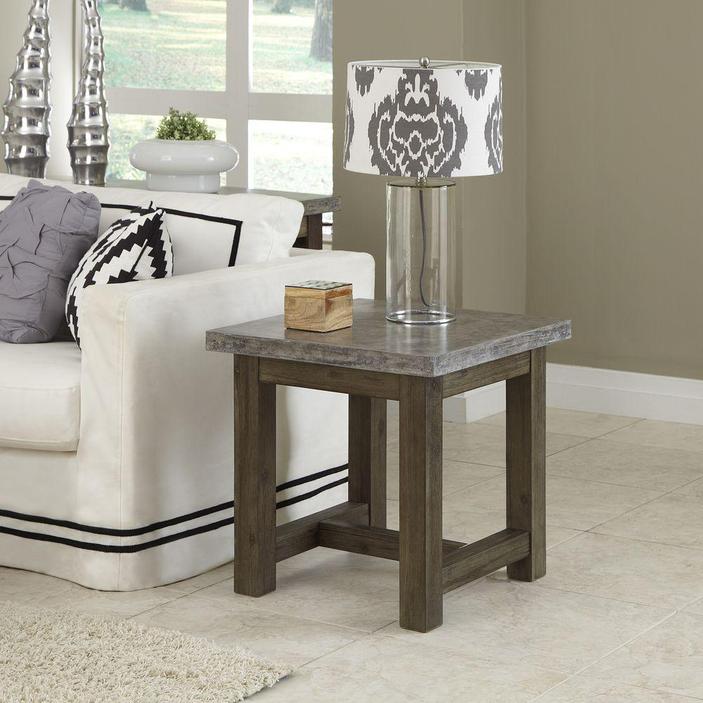 home styles concrete chic weathered brown top end table lightly finished aged metal look and the base has finish tables accent black dining room small light oval glass coffee