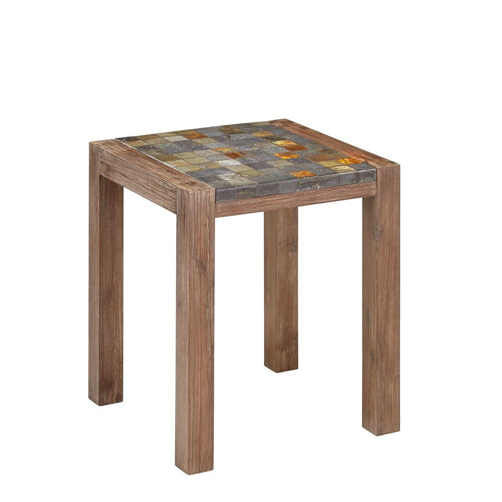 home styles indoor outdoor patio end table with slate top side tables accent black metal frame coffee marble white narrow nightstand shoe organizer target for sofas drop leaf