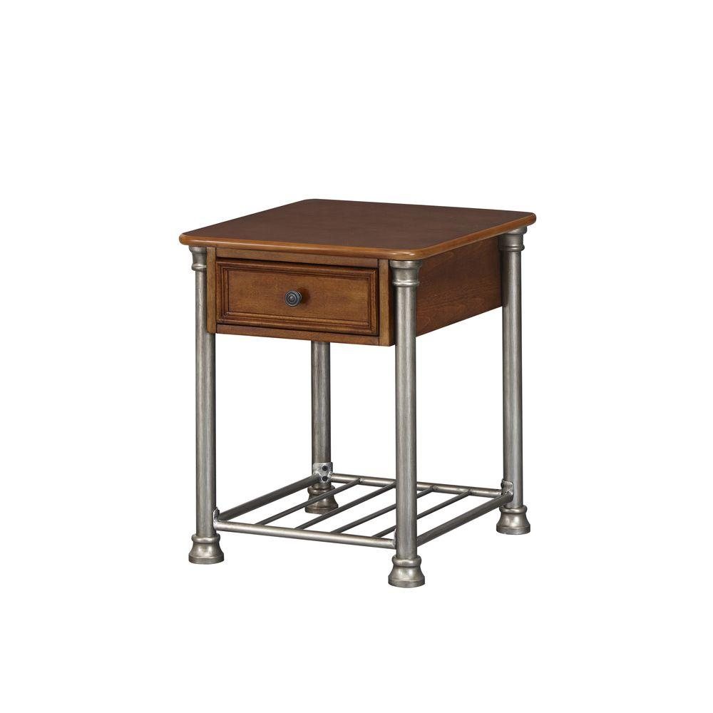 home styles vintage caramel storage side table the end tables quatrefoil accent antique marble top west elm wood tall with drawer lifetime drum stool cover nate berkus industrial
