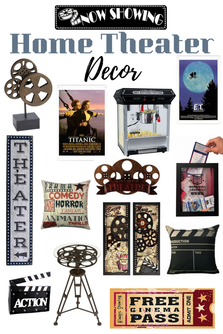 home theater room decor vertical wood sign movie reel triller accent table target pillows now showing and much more drop leaf tables for small spaces wide console outdoor bbq prep