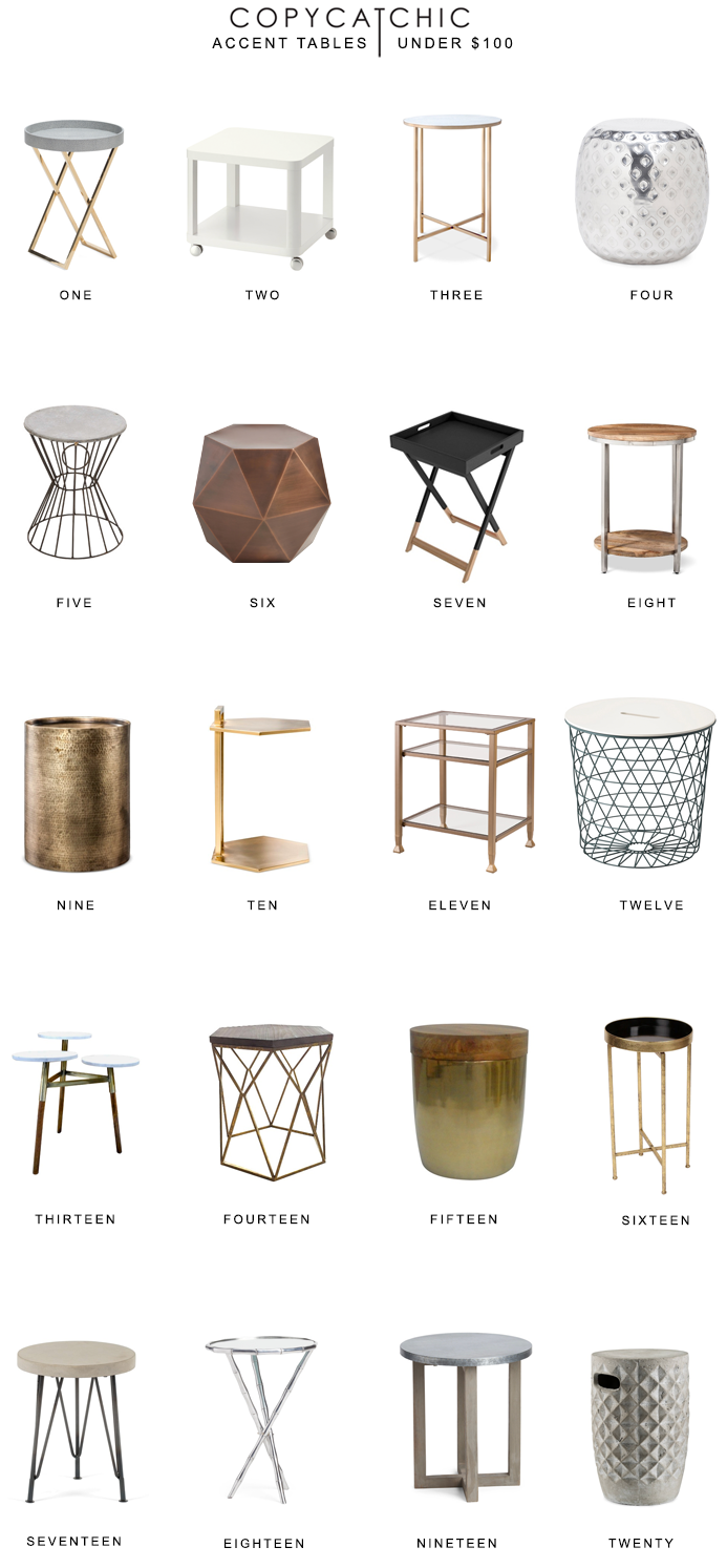 home trend the best accent tables under copycatchic hammered metal table our favorite end nightstands side and media console tiffany lamps mortar pestle target grey tufted chair