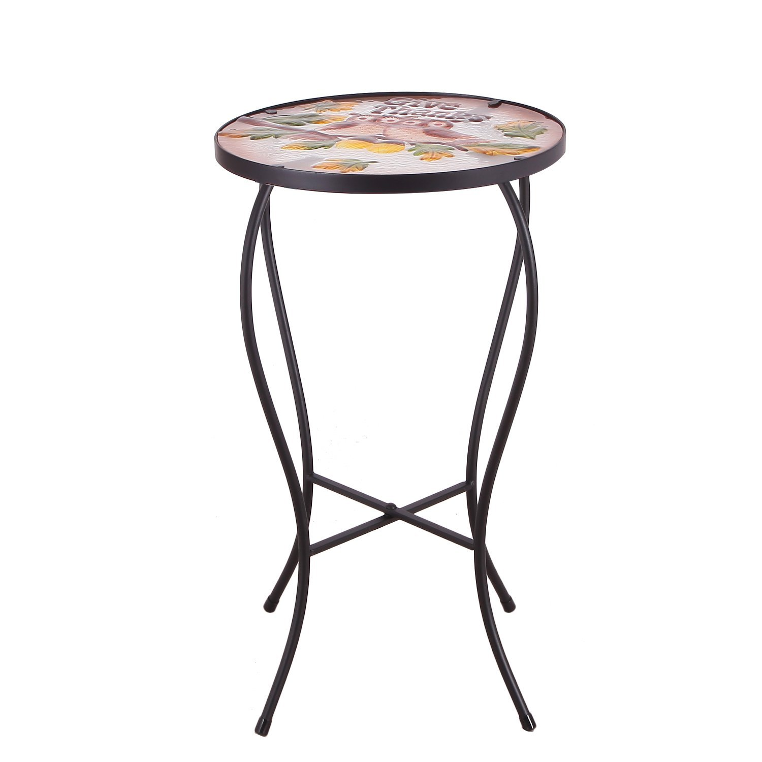homebeez couple owes mosaic round plant stand accent ryder small table side black color curve tube legs outdoor indoor height inches garden smoked glass coffee tablecloth white
